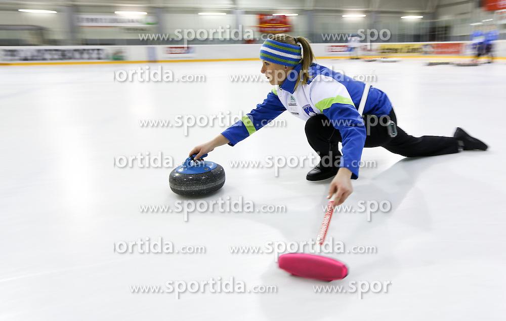 Tjasa Jazbec during a training session of Team Slovenia Women Curling team for 2013 European Women's Curling Championships in Norway on November 18, 2013 in Arena Zalog, Ljubljana, Slovenia.  Photo by Vid Ponikvar / Sportida