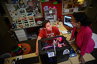 Students use a 3d Makerbot printer at the College of Education library at Poe Hall. Photo by Marc Hall