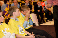 James Devaney St Patrick's National  Calry, Sligo, gets one wrong before going on to win at the Eason Spelling Bee in the Hotel Meyrick, Galway from where Ryan Tubridy's  show was broadcast . Photo:Andrew Downes..