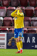 Matthew Kennedy (#33) of St Johnstone FC holds his head in his hands after missing a chance during the Ladbrokes Scottish Premiership match between Heart of Midlothian FC and St Johnstone FC at Tynecastle Park, Edinburgh, Scotland on 14 December 2019.