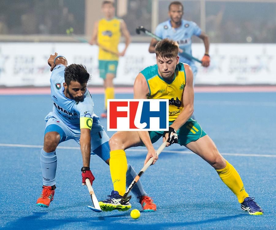 BHUBANESWAR - The Odisha Men's Hockey World League Final . Match ID 02. Eddie Ockenden (Aus) with Manpreet Singh (Ind)  WORLDSPORTPICS  COPYRIGHT  KOEN SUYK