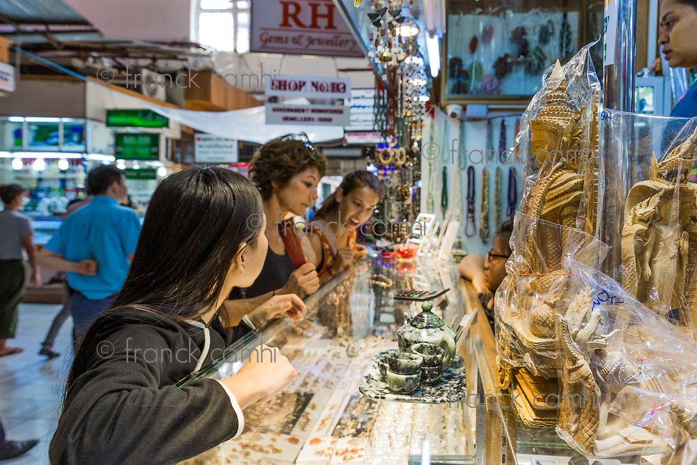 YANGON, MYANMAR -NOVEMBER 25, 2016 : people shopping at Bogyoke Aung San Market Yangon (Rangoon) in Myanmar (Burma)
