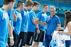 Franjo Bobinac, president of RZS and young players during handball match between RK Celje Pivovarna Lasko vs RK Gorenje Velenje of Super Cup 2015, on August 29, 2015 in SRC Marina, Portoroz / Portorose, Slovenia. Photo by Urban Urbanc / Sportida