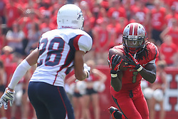 Sep 6, 2014; Piscataway, NJ, USA; Rutgers Scarlet Knights wide receiver Janarion Grant (1) catches a pass during the first half at High Points Solutions Stadium.