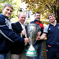 Shaun Payne, Declan ,Kidney,Anthony Foley and Gerry Flannery with the Heineken Cup at the Munster Rugby Breakfast in the Templegate Hotel on Friday in aid of Cahercalla Hospice.<br /> Photograph by Eamon Ward