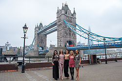 © Licensed to London News Pictures. 21/11/2019. London, UK. Miss Northern Ireland (Lauren eve LECKEY), Miss Wales (Gabriella JUKES), Miss England (Bhasha MUKHERJEE), Miss Scotland (Keryn MATTHEW) and Miss Ireland (Chelsea FARRELL) pictured at Tower Bridge. National representatives from around the world arrive in London for the 69th Miss World festival and final Photo credit: Peter Manning/LNP