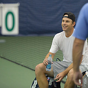 August 21, 2014, New Haven, CT:<br /> Andy Roddick participates in a pro-am session during the Men's Legends Event on day seven of the 2014 Connecticut Open at the Yale University Tennis Center in New Haven, Connecticut Thursday, August 21, 2014.<br /> (Photo by Billie Weiss/Connecticut Open)