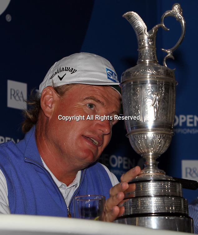 22.07.12 Lytham & St Annes, England. Open Champion Ernie Els with the Claret Jug in a press conference after winning The Open Golf Championship from the Royal Lytham & St Annes course in Lancashire