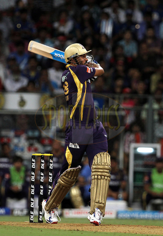 Kolkatta Knight Riders player Yusuf Pathan plays a shot during match 65 of the Indian Premier League ( IPL) 2012  between The Mumbai Indians and the Kolkata Knight Riders held at the Wankhede Stadium in Mumbai on the 16th May 2012..Photo by Vipin Pawar/IPL/SPORTZPICS.