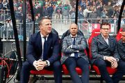 coach John van den Brom of AZ Alkmaar, assistant trainer Arne Slot of AZ Alkmaar, assistant trainer Leeroy Echteld of AZ Alkmaar
