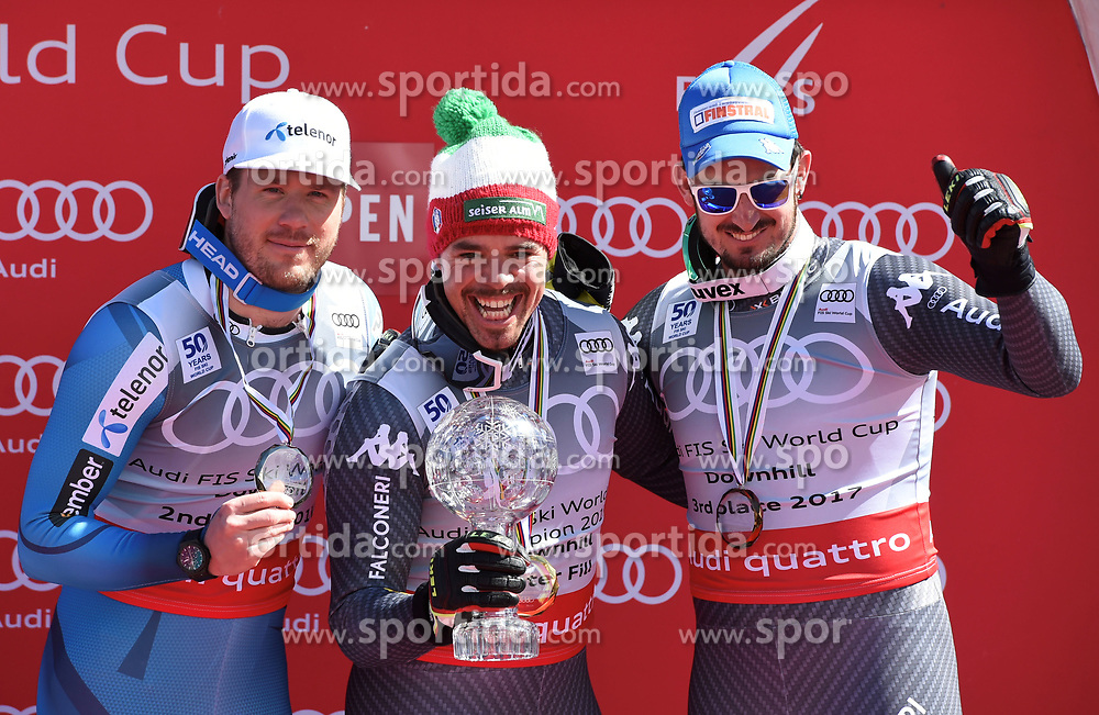 15.03.2017, Aspen, USA, FIS Weltcup Ski Alpin, Finale 2017, Abfahrt, Herren, Siegerehrung, im Bild v.l. Kjetil Jansrud (NOR, 2. Platz Abfahrts-Weltcup), Peter Fill (ITA, 2. Platz und Abfahrts-Weltcupsieger), Dominik Paris (ITA, 1. Platz und 3. Platz Abfahrts-Weltcup) // f.l. Downhill World Cup second placed Kjetil Jansrud of Norway, second placed and Downhill World Cup winner Peter Fill of Italy, race winner and Downhill World Cup third placed Dominik Paris of Italy during the winner award ceremony for the men's downhill of 2017 FIS ski alpine world cup finals. Aspen, United Staates on 2017/03/15. EXPA Pictures © 2017, PhotoCredit: EXPA/ Spiess