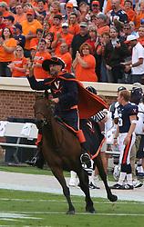 Cav Man, the mascot of the Virginia Cavaliers, rides into Scott Stadium on his horse Sabre.  The Virginia Cavaliers defeated the Duke University Blue Devils 38-7 on September 24, 2005 at Scott Stadium in Charlottesville, VA.