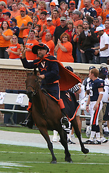 Cav Man, the mascot of the Virginia Cavaliers, rides into Scott Stadium on his horse Sabre.  The Virginia Cavaliers defeated the Duke University Blue Devils 38-7 on September 24, 2005 at Scott Stadium in Charlottesville, VA.