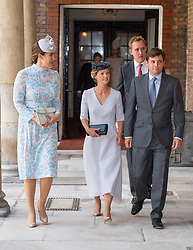 (left to right) The Duchess of Cambridge's cousin Lucy Middleton, Hannah and Robert Carter and Harry Aubrey-Fletcher (back) arriving for the christening of Prince Louis, the youngest son of the Duke and Duchess of Cambridge at the Chapel Royal, St James's Palace, London.