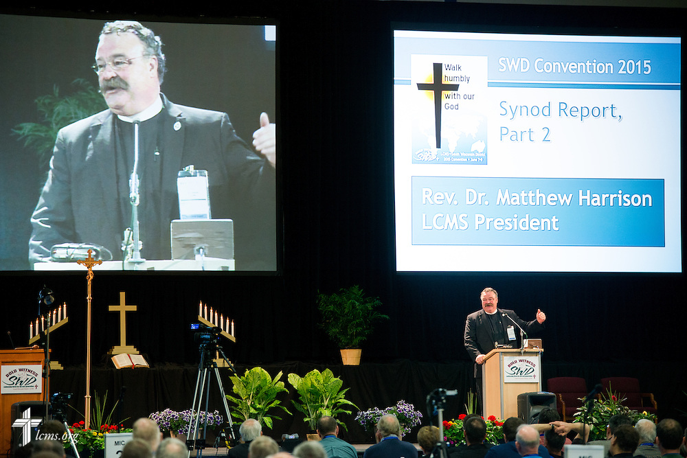 The Rev. Dr. Matthew C. Harrison, president of The Lutheran Church–Missouri Synod, speaks at the 54th Convention of the South Wisconsin District on Tuesday, June 9, 2015, at Concordia University Wisconsin in Mequon, Wis. LCMS Communications/Erik M. Lunsford
