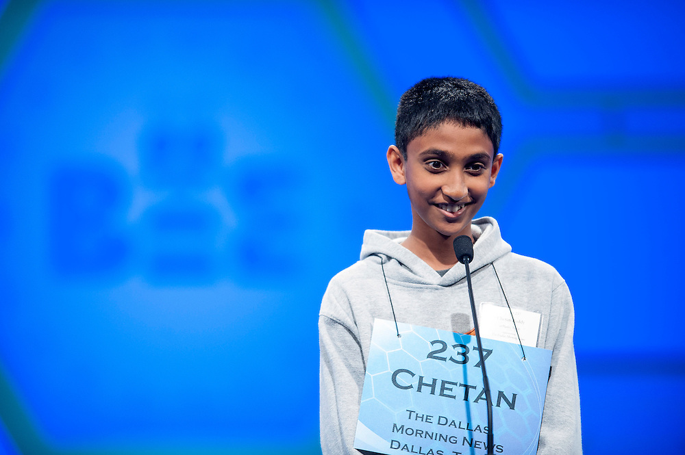 Chetan Reddy, 12 of Dallas, TX, competes in the semifinal round of the 85th Annual Scripps National Spelling Bee at the Gaylord National Resort & Convention Center in National Harbor, Md., near Washington, D.C.