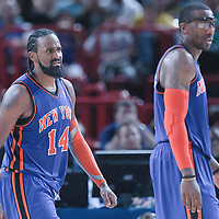06 October 2010: New York Knicks center Ronny Turiaf #14 reacts during the Minnesota Timberwolves 106-100 victory over the New York Knicks, during 2010 NBA Europe Live, at the POPB Arena in Paris, France.
