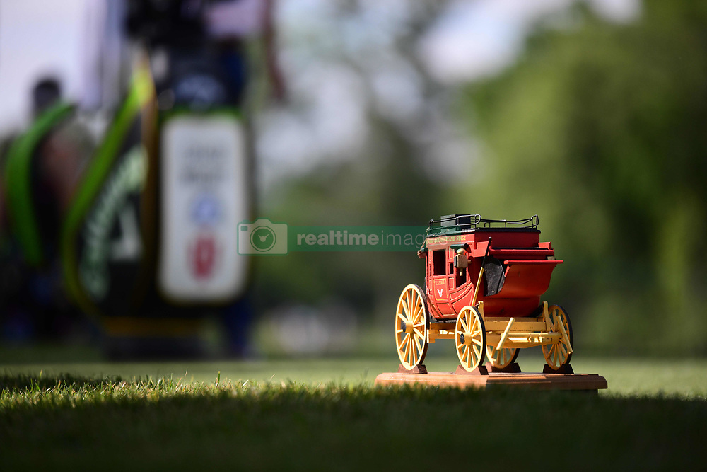 May 2, 2019 - Charlotte, NC, U.S. - CHARLOTTE, NC - MAY 02: The Wells Fargo stage coach tee marker is highlighted by the morning sun on the 15th tee during the first round of the Wells Fargo Championship at Quail Hollow on May 2, 2019 in Charlotte, NC. (Photo by William Howard/Icon Sportswire) (Credit Image: © William Howard/Icon SMI via ZUMA Press)