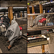 Homeless street person a sleep in  New York City subway station. <br /> <br /> Persons with serious and persistent mental health problems may be forced to live on the streets in precarious circumstances.