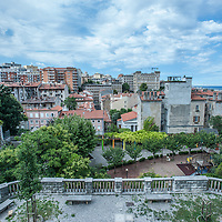 Buildings of the old city (Città Vecia) seen from San Giusto in  Trieste, Italy.