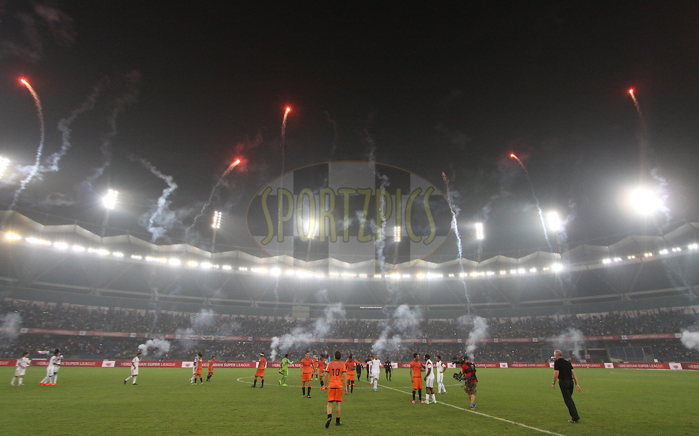 Fire work after match 16 of the Hero Indian Super League between The Delhi Dynamos FC and NorthEast United FC held at the Jawaharlal Nehru Stadium, Delhi, India on the 29th October 2014.<br /> <br /> Photo by:  Arjun Panwar/ ISL/ SPORTZPICS