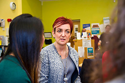 Pictured: Angela Constance, Communities Secretary had the opportunity to chat with Digital Drop In volunteer Student Nicole Nq (green top)<br /> Today Communities Secretary  Angela Constance visited Dr Bells family centre, where she met staff and volunteers ahead of the first Tackling Child Poverty Delivery Plan being published.<br /> <br /> <br /> Ger Harley | EEm 29 March 2018