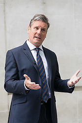 © Licensed to London News Pictures. 03/09/2017. LONDON, UK.  KEIR STARMER, Shadow Brexit secretary speaks to journalists as he leaves BBC Broadcasting House after appearing on the Andrew Marr show. Photo credit: Vickie Flores/LNP