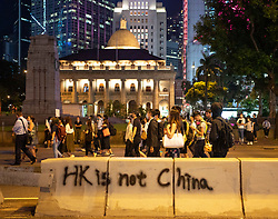 Hong Kong. 4 October 2019. Large gathering of pro- democracy supporters evening in Hong Kong Central District. Protestors angry with Chief Executive Carrie Lam's use of Emergency Powers to ban the wearing of masks during protests. March proceeded peacefully towards Wanchai district.  Iain Masterton/Alamy Live News.