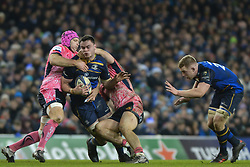 December 16, 2017 - Dublin, Ireland - James Ryan of Leinster team in action challenged by Tom Waldrom (Left) and  Sam Simmonds of Exeter Chiefs during the  European Rugby Champions Cup rugby match at Aviva Stadium...On Saturday, 16 December 2017, in Dublin, Ireland. (Credit Image: © Artur Widak/NurPhoto via ZUMA Press)