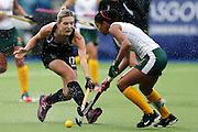 Sophie Cocks of New Zealand in action during the bronze medal match between New Zealand and South Africa. Glasgow 2014 Commonwealth Games. Hockey, Bronze Medal Match, Black Sticks Women v South Africa, Glasgow Green Hockey Centre, Glasgow, Scotland. Saturday 2 August 2014. Photo: Anthony Au-Yeung / photosport.co.nz