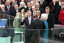 George Herbert Walker Bush takes the oath of office as the 41st President of the United States administered by Supreme Court Chief Justice William Rehnquist at the U.S. Capitol in Washington, D.C., USA on January 20, 1989. Photo by George Bush Presidential Library/MCT/ABACAPRESS.COM