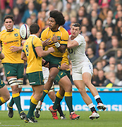 Twickenham, Great Britain,  Henry SPEIGHT, challenged by Jonny MAY during the QBE Autumn International, England vs Australia, played at the RFU Stadium, Twickenham, ENGLAND. 14:51:03   Saturday  29/11/2014  [Mandatory Credit; Peter Spurrier/Intersport-images]
