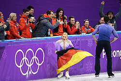 PYEONGCHANG, Feb. 15, 2018  Aljona Savchenko (front L) and Bruno Massot (front R) of Germany celebrate after winning the pair skating event at the 2018 PyeongChang Winter Olympic Games, in Gangneung Ice Arena, South Korea, on Feb. 15, 2018. Aljona Savchenko and Bruno Massot won the gold medal of the event with 235.90 points in total. (Credit Image: © Ju Huanzong/Xinhua via ZUMA Wire)