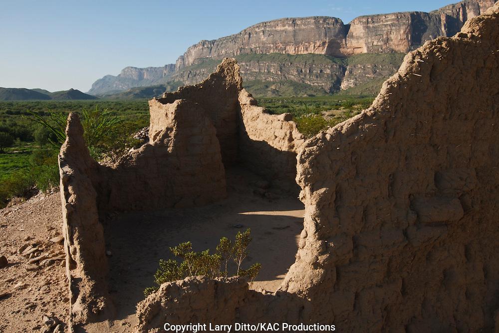 historic adobe dwelling near the Rio Grande in Big Bend National Park, Texas, USA