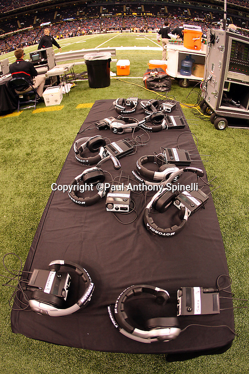 NEW ORLEANS - DECEMBER 07: Coaches headsets sit ready on a table prior to the New Orleans Saints game against the Atlanta Falcons at the Louisiana Superdome on December 7, 2008 in New Orleans, Louisiana. The Saints defeated the Falcons 29-25. ©Paul Anthony Spinelli