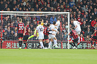 Football - 2018 / 2019 Premier League - AFC Bournemouth vs. Burnley<br /> <br /> Bournemouth's Asmir Begovic fails to reach a cross which lets Chris Wood of Burnley score a header at the far post at the Vitality Stadium (Dean Court) Bournemouth <br /> <br /> COLORSPORT/SHAUN BOGGUST