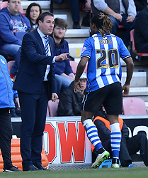 Wigan Athletic Manager, Malky Mackay gives orders to  Gaetan Bong - Photo mandatory by-line: Richard Martin-Roberts/JMP - Mobile: 07966 386802 - 07/03/2015 - SPORT - Football - Wigan - DW Stadium - Wigan Athletic v Leeds United - Sky Bet Championship