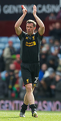 BIRMINGHAM, ENGLAND - Easter Sunday, March 31, 2013: Liverpool's Jamie Carragher celebrates the 2-1 victory over Aston Villa during the Premiership match at Villa Park. (Pic by David Rawcliffe/Propaganda)