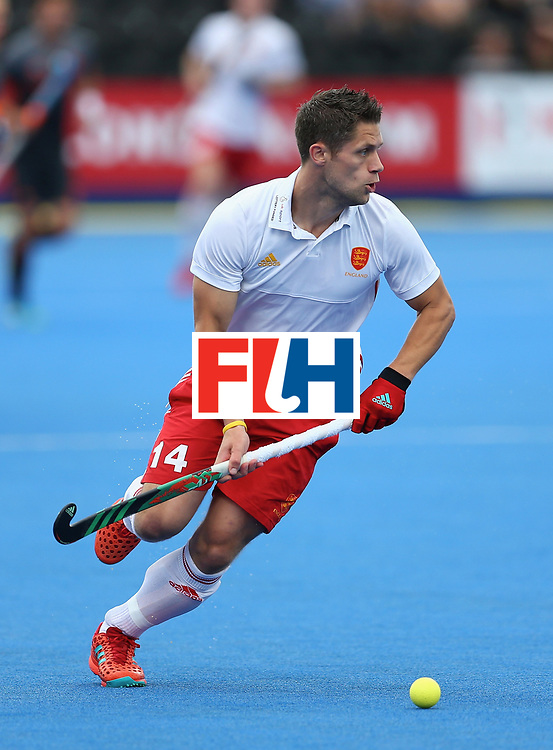 LONDON, ENGLAND - JUNE 24: Mark Gleghorne of England in action during the semi-final match between England and the Netherlands on day eight of the Hero Hockey World League Semi-Final at Lee Valley Hockey and Tennis Centre on June 24, 2017 in London, England. (Photo by Steve Bardens/Getty Images)