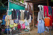 How people on the streets of Siem Reap hang their clothes to dry where they can.