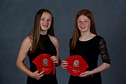 NEWPORT, WALES - Saturday, May 19, 2018: Hayley Hoare (left) and Katue Hoare (right) during the Football Association of Wales Under-16's Caps Presentation at the Celtic Manor Resort. (Pic by David Rawcliffe/Propaganda)