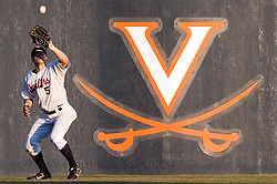 Virginia Cavaliers outfielder Mike Mitchell (5) catches a Delaware pop up.  The Virginia Cavaliers Baseball Team defeated the Delaware Blue Hens 11-2 in the first of a three game series at Davenport Field in Charlottesville, VA on March 2, 2007.