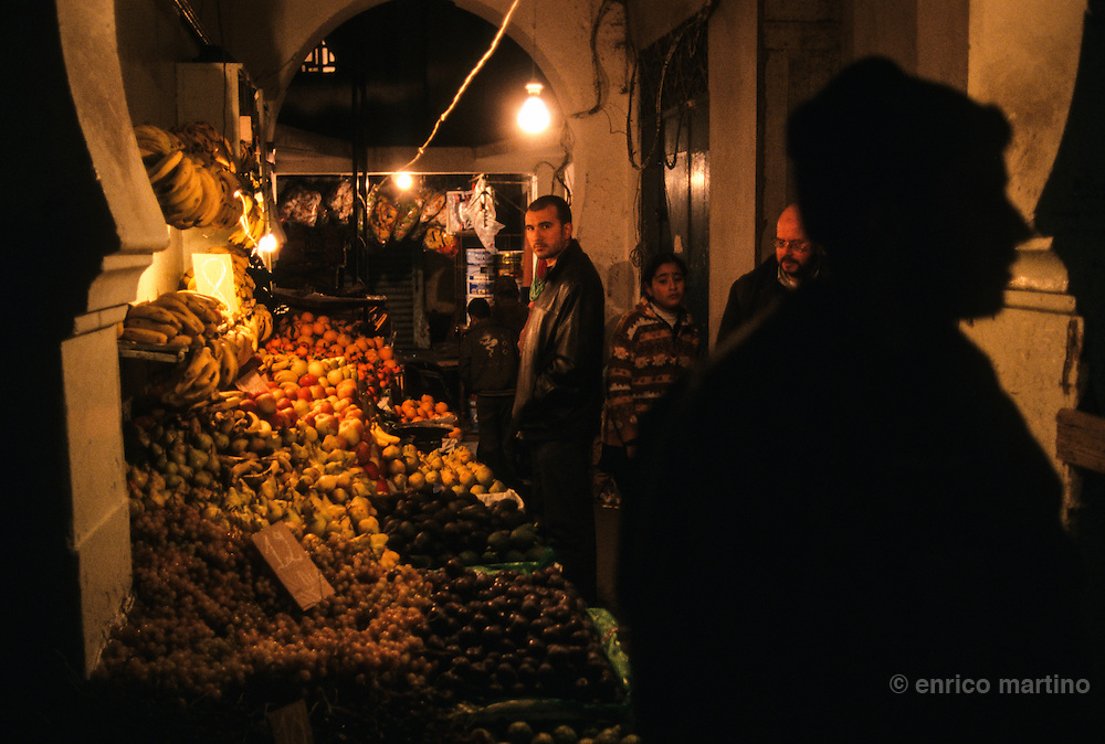 Tangier,  the old city, medina's market open till late night.