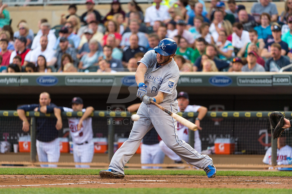 Mike Moustakas #8 of the Kansas City Royals bats against the Minnesota Twins on June 27, 2013 at Target Field in Minneapolis, Minnesota.  The Twins defeated the Royals 3 to 1.  Photo by Ben Krause