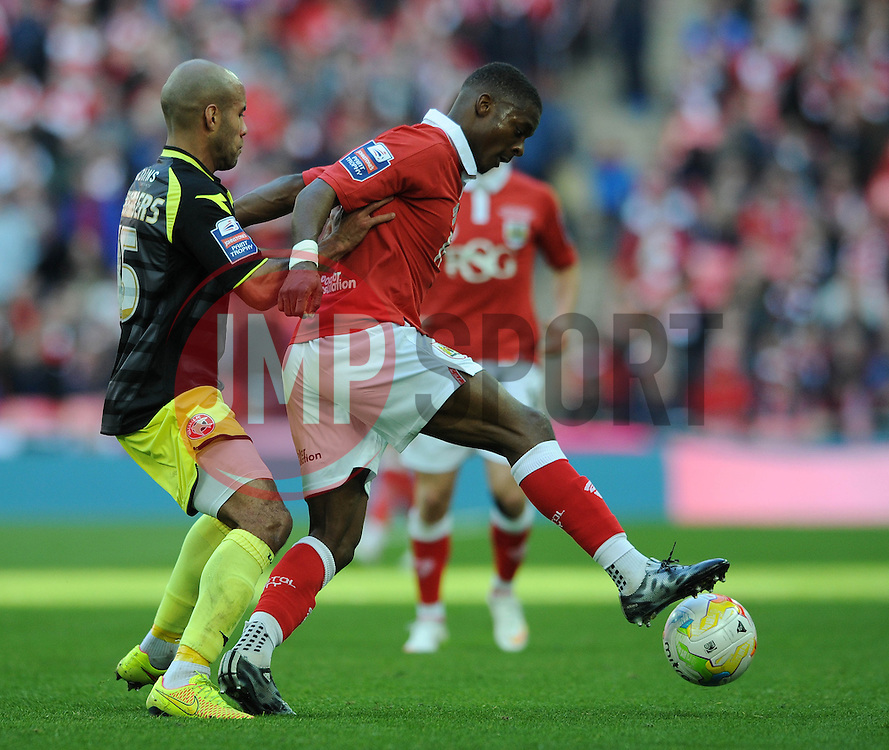 Bristol City's Kieran Agard holds up the ball from Walsall's James Chambers - Photo mandatory by-line: Dougie Allward/JMP - Mobile: 07966 386802 - 22/03/2015 - SPORT - Football - London - Wembley Stadium - Bristol City v Walsall - Johnstone Paint Trophy Final