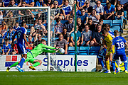 Gillingham FC goalkeeper Jack Bonham (1) saves a shot during the EFL Sky Bet League 1 match between Gillingham and Wycombe Wanderers at the MEMS Priestfield Stadium, Gillingham, England on 14 September 2019.