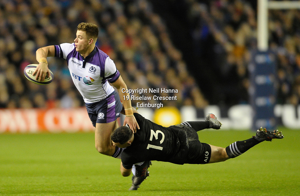 Scotland v New Zealand Saturday 18th November 2017 BT Murrayfield, Edinburgh.<br /> <br /> Huw Jones of Scotland and Ryan Crotty of New Zealand<br /> <br />  Neil Hanna Photography<br /> www.neilhannaphotography.co.uk<br /> 07702 246823