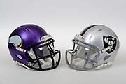 A view of Minnesota Vikings and Oakland Raiders helmets on Thursday, November 2, 2017. (Kirby Lee via AP)