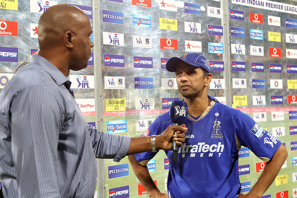 Rahul Dravid interviewed after the match during match 27 of of the Pepsi Indian Premier League between The Royal Challengers Bangalore and The Rajasthan Royals held at the M. Chinnaswamy Stadium, Bengaluru  on the 20th April 2013..Photo by Ron Gaunt-IPL-SPORTZPICS      ..Use of this image is subject to the terms and conditions as outlined by the BCCI. These terms can be found by following this link:..http://www.sportzpics.co.za/image/I0000SoRagM2cIEc