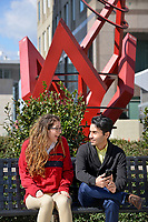 PRTM students discuss where to go next while visiting downtown Raleigh.